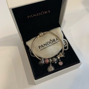 PANDORA CHARM BRACELET WITH 6 CHARMS INCLUDED